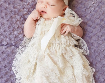 Ivory Shabby Headband, Baby Headband, Newborn Headband, Baptism, Christening, Wedding, Girls Headband