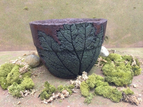 items similar to hypertufa imprinted leaf flower pot on etsy. Black Bedroom Furniture Sets. Home Design Ideas