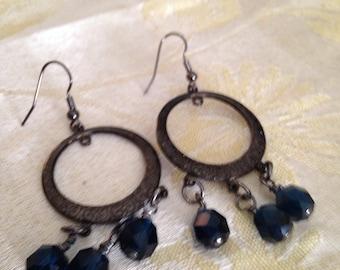 Black Chandelier Hoop Earrings