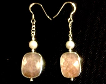 Mystical Peach Moonstone Drop Earrings with White Pearls