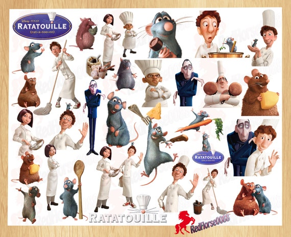 32 Disney Pixar RATATOUILLE Character PNG Images Clip Art Birthday ...