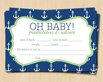 Printable Navy Blue And Green Anchor Baby Shower Advice And Prediction Card