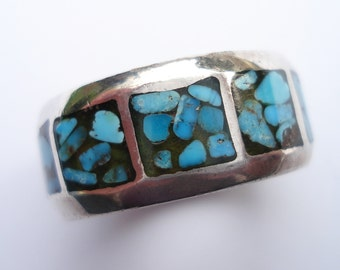 Vintage Sterling Silver Turquoise Chip Ring 6