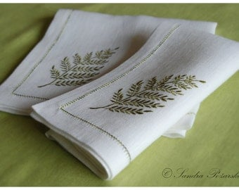 Natural linen embroidered napkins, set of 6