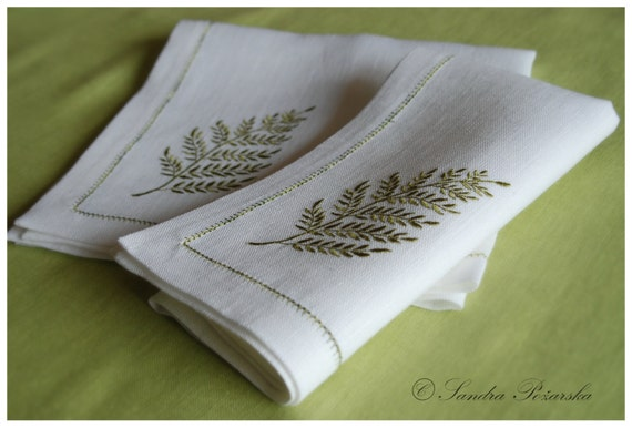 Natural linen embroidered napkins leaf embroidery