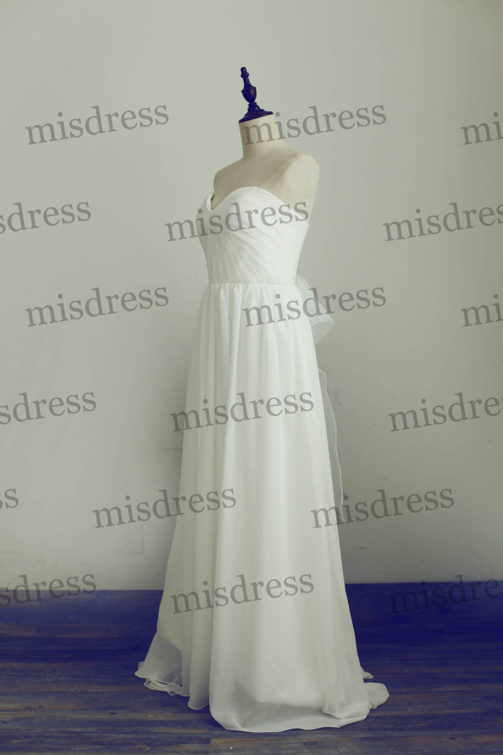 Strapless Sweetheart Lace Chiffon Wedding Dress Bridal Gown Bridesmaid Dress with Organza Bow/Train