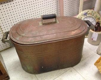 Antique Solid Cooper Boiler Kettle Wash Tub With Original