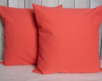 Solid Coral Throw Pillows : Solid coral cushion Etsy