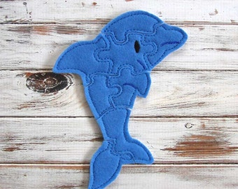 Felt Puzzle - Dolphin Puzzle  -  Kids Puzzles - Shape, Learning Puzzle  - Educational Toy - Animal Puzzle