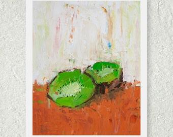 Kiwi Print, Kiwi Fruit Print, Green Art Print, Small Wall Art, Kitchen Art Decor, Original Art Print, Food Print, Fine Art Print, Still Life
