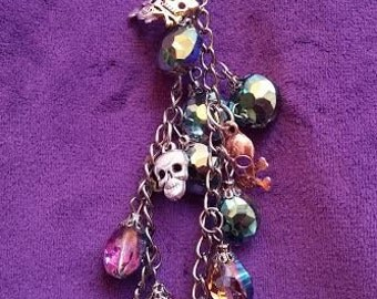 Purple Crystals and Skulls Charm,, 7 inches long