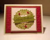 Red and Green Merry Christmas Banner Wreath Handmade Christmas Card