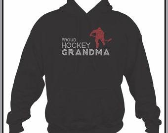 Hockey Grandma Sweatshirt/ Rhinestone Hockey Sweatshirt/ Rhinestone Proud Hockey Grandma Hoodie Sweatshirt/ Hockey Sweatshirt