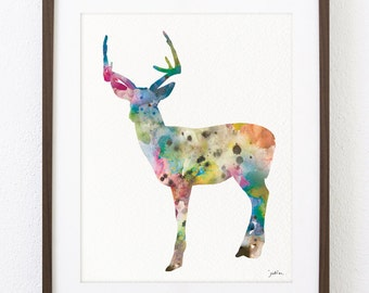Colorful Deer Watercolor Art Print - Deer Art Painting, 8x10 Archival Print, Minimalist Art Deer Print, Wall Decor Art Home Decor Housewares