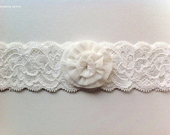 Bridal Wedding Garter | Vintage Inspired | Ivory Flower Stretch Lace | Off White