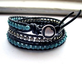 Howlite and Hematite Leather Wrap Bracelet