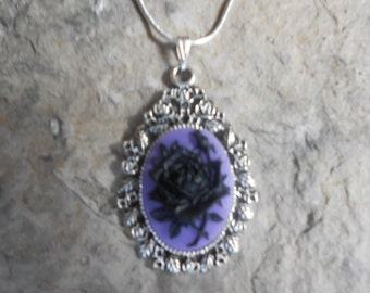 "Stunning Black Rose (on a purple background) Cameo Pendant Necklace---.925 plated 22"" Chain--- Great Quality"