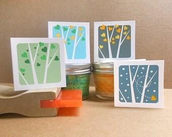 Aspen Hearts 4 Seasons hand screenprinted mini notecards / gift cards / Set of 4