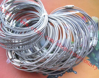 Wholesale 100pcs 6-8 inch for your choose silver stainless bracelets wires--screw clasps--strong--wires