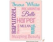 PRINTABLE Princess Names Custom Art Design // ANY Colors or Size // Little Girl Decor // Wall Art // Personalized Nursery Print //