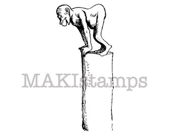 Monkey on a  pole / Unmounted rubber stamp / Monkey rubber stamp (131015)