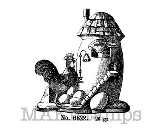 Easter rubber stamp / Easter egg house stamp / Unmounted rubber stamp or cling stamp option (140302)