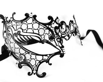 Masquerade mask, black lace masquerade mask, metal lace mask, wedding masquerade mask, prom mask