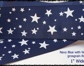 "Navy Blue with White Stars Printed Grosgrain Ribbon 1"" Wide az527"