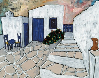 "Kara Asilanis Giclee ""Steps to Freedom"" - large limited edition print, Greece, sea, sky"