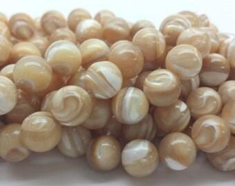 Shell Bead MOP Beads - Natural mocha color