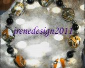 Beautiful Handmade Silver Bracelet with Striped Gemstones & Black Onyx by IreneDesign2011