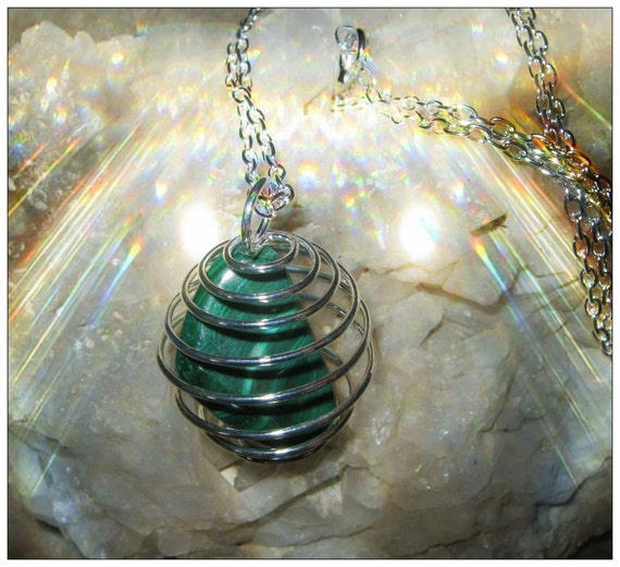 Handmade Silver Necklace with Malachite in Silver Cage by IreneDesign2011