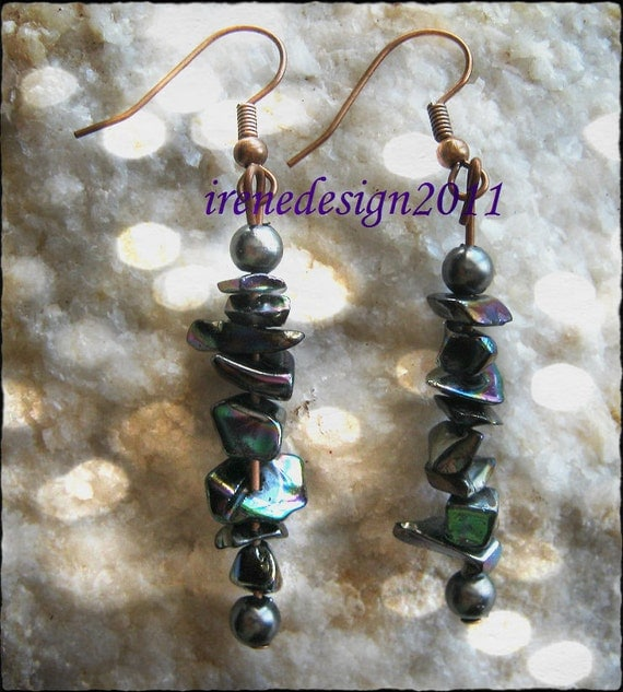 Handmade Copper Hook Earrings with Rainbow Obsidian & Black Pearl by IreneDesign2011
