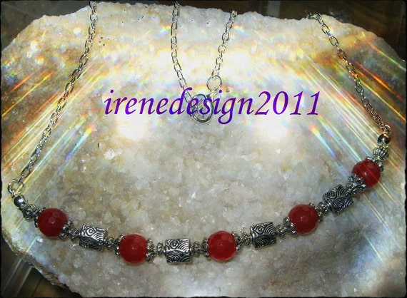 Handmade Silver Necklace with Facetted Red Ruby by IreneDesign2011