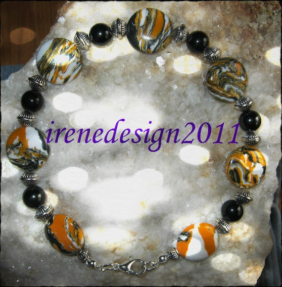 Handmade Silver Bracelet with Striped Gemstones & Black Onyx by IreneDesign2011