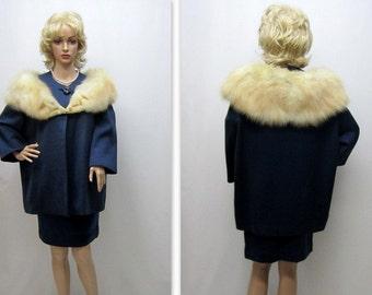 Vintage 60s Fur Trimmed Suit, Womens Fur Suit, Suit, 60s Fur Suit