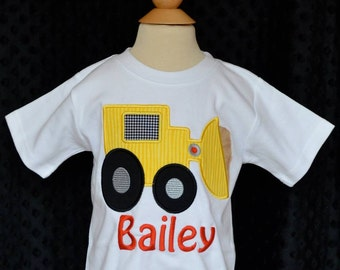 Personalized Front End Loader Dump Truck Tractor Applique Shirt or Onesie Boy or Girl