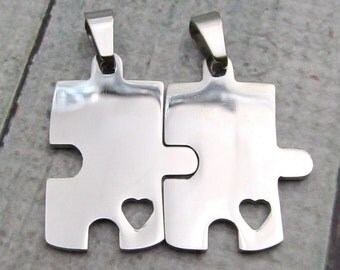 Puzzle Pieces, Stainless Steel Puzzle Pieces - Interlocking Puzzle Blanks - SST Findings  20x30mm  Set of 2 - Stamping Blanks (071)