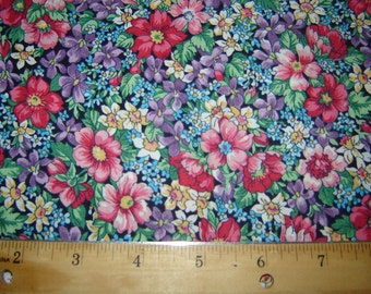 Per Yard, Flowers Blues Pinks, Green Fabric