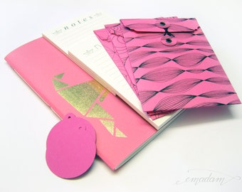 Stationery, notebook, notepad, memo pad, journal, envelope, pad, bundle, set, tag, office supplies - Everything pink