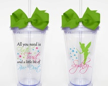 Faith Trust and Pixie Dust, Tinkerbelle Quote - Acrylic Tumbler Personalized Cup