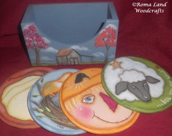 Tole painting EPATTERN, Fall Coasters, sheep, scarecrow, bird, barn, saltbox house, Painting Pattern, Thanksgiving, make it yourself, Prim