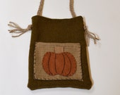Ditty Bag, Primitive Tote, Pumpkin Bag,  Rustic Tote, Prim Tote Bag, Primitive Decor, Wool, Pumpkin Decor, Fall Decor, Wool Felt