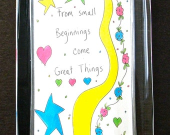 """Glass Paperweight Quote """"From Small Beginnings Come Great Things"""" Keep the Faith Hope Encouragement Baby Steps Congratulations Friend Gift"""