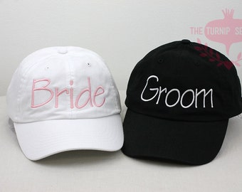 Wedding Bride and Groom Embroidered Baseball Caps - Designer Font