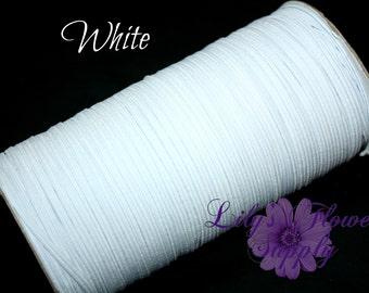 White Skinny Elastic - 5 yards - White - 1/8 Inch Elastic - Elastic by the yard - Thin Elastic - DIY - Headbands