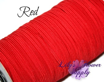1/8 inch Elastic - 5 yards - Red - Skinny Elastic - Elastic by the yard - Thin Elastic - DIY - Headbands