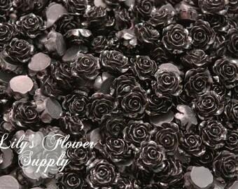 Black Resin Rose Button - Rose Center Piece - Flatback Button - Resin Rose- Pearl Button - Wholesale - You pick colors - 10 Pieces