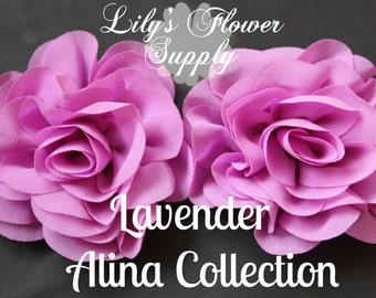 Lavender Rose Chiffon Flowers - Wholesale Chiffon Flowers - Rosette Silk Chiffon - Flower for Headbands - Alina Collection
