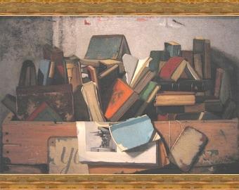 "8x10"" Cotton Canvas Print, John Frederick Peto, Take Your Choice, Books, Reading, Library"